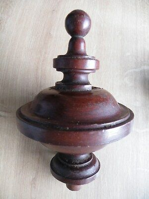 Classical Antique Crisp Turned Patinated Mahogany Newel Post Finial