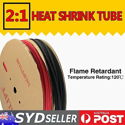 6M Heat Shrink Tube Cable Wire Insulation Sleeving Wrap Waterproof Black DIY 2:1