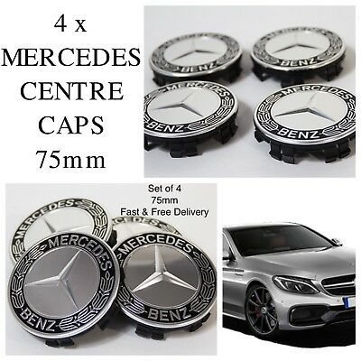 4x Mercedes Benz Alloy Wheel Centre Caps 75mm BLACK Hub Emblem - Fits All
