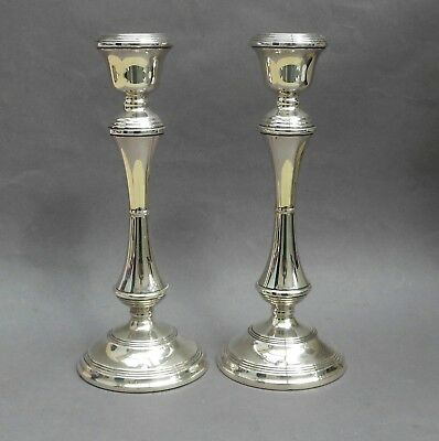 """Pair of Vintage Sterling Silver 10"""" Candlesticks ~ 1968 Broadway & Co / English"""
