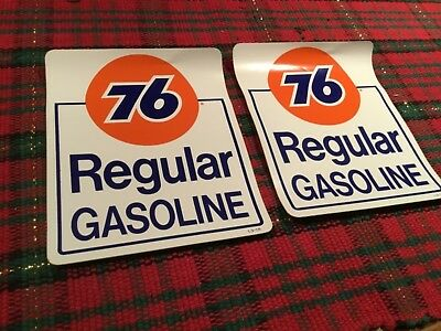 Union 76 Unleaded Gasoline racing sticker gas pump Gas/Oil. (Two)