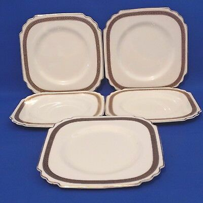 George Jones Crescent Ivory - 5 x Tea Plates - 1920s Art Deco Lawleys Regent St