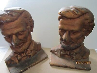 "HEAVY Cast Brass Iron Abe Lincoln Book Ends  Vintage Antique 6x4"" OLD"