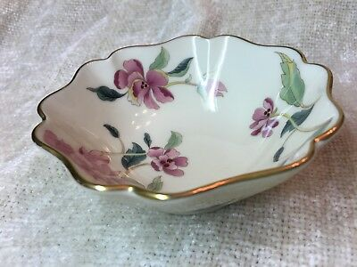"""Lenox Barrington Collection 4"""" Floral Jewelry Dish With Pink Flowers Gold Trim"""
