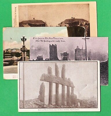 Lot of 4 Vintage  Postcards views of Post Fire 1906  San Francisco California #3