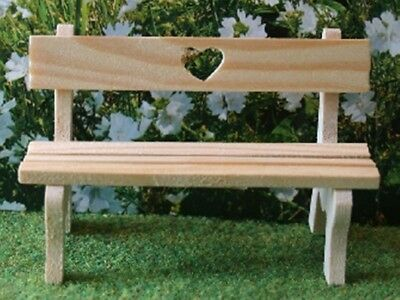 Dolls House Miniature 1/12th Scale Wooden Love Heart Bench