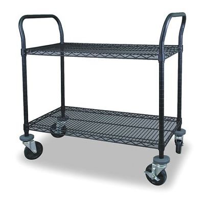 Wire Cart,2 Shelf,48x18x39,Black ZORO SELECT 2HDN7