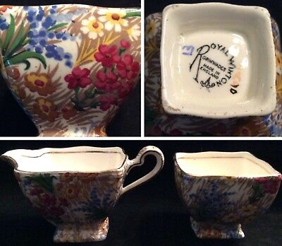 Royal Winton Grimwades Chintz Creamer And Sugar Marguerite Pattern (D3)