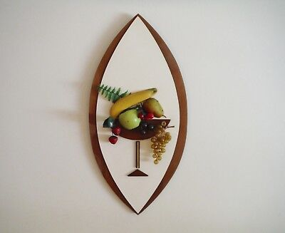 Vintage Mid Century Modern Martini Glass Fruit 3D Picture Art Wall Plaque