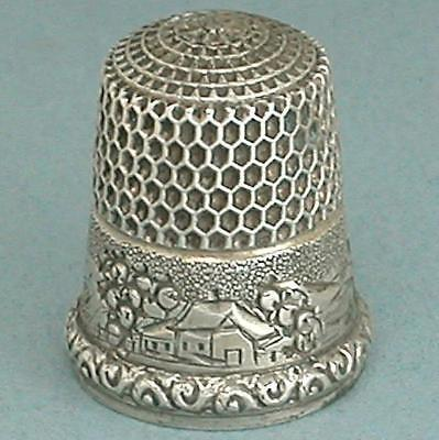 Antique American Sterling Silver Landscape Thimble * Circa 1880s