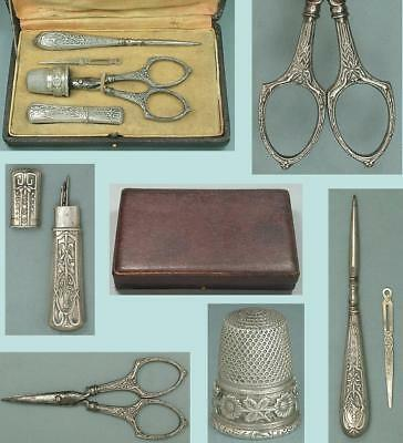 Antique Cased French Silver Sewing Set, Thimble, Scissors, Needle Case* C1913-17