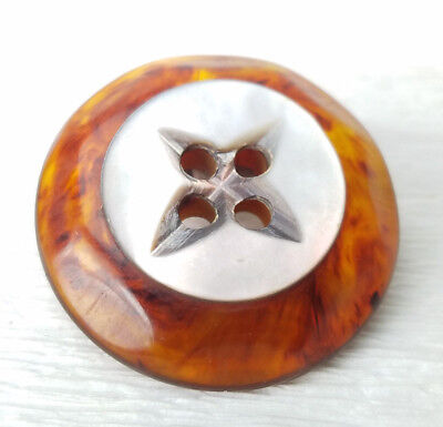 """Vintage Faux Tortoise Shell Mother of Pearl Sew Through Button 1 5/16"""""""