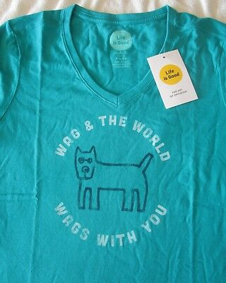 LIFE IS GOOD Wag & The World Wags With You Dog SS TShirt NWT Womens Sz S Small