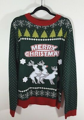 9c1933514a6d Sweater Lab Holiday Ugly Christmas Sweater Naughty Reindeer Men's Size XL
