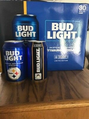 """New (2) 2018 Nfl Bud Light """"pittsburgh Steelers"""" Can Sealed (Never Opened)"""