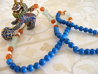 Antique Chinese Enameled Foo Dog with Ball Lapis / Jade / Carnelian Necklace