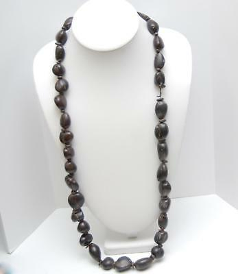 """VINTAGE NATURAL Large Sized Nut Seed Bead Necklace_40"""" Long"""