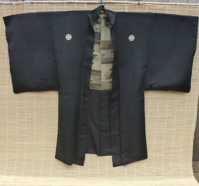 Vintage Japanese Man's Black Silk Haori, Family Crest
