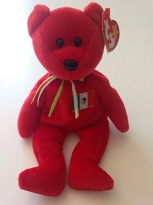 1999 TY Beanie Baby Original  - Red Osito Mexico Bear With Tags!!!