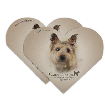 Cairn Terrier Dog Breed Heart Faux Leather Bookmark - Set of 2