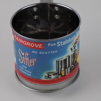 Vintage Fairgrove Stainless Steel 1 Cup Sifter Original Label No. 701 Baking
