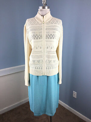 ST JOHN Collection L 12 Skirt Jacket Suit Santana Knit marie Gray Ivory Blue WOW