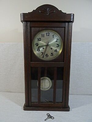 Vintage Timber Wall Hung Grandmother Clock Chimes Chiming