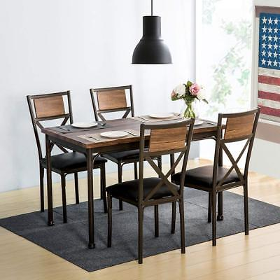 Superbe 5Piece Retro Dining Set Kitchen Table W/4 Dining Chairs Metal 5PC Home  Furniture