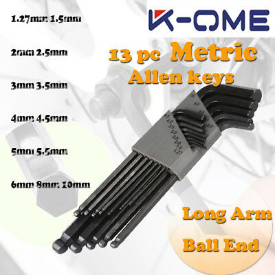 K-OME 13PC Metric MM Ball-End Allen Hex Key Set Long Arm L-Wrench Set Hand tool