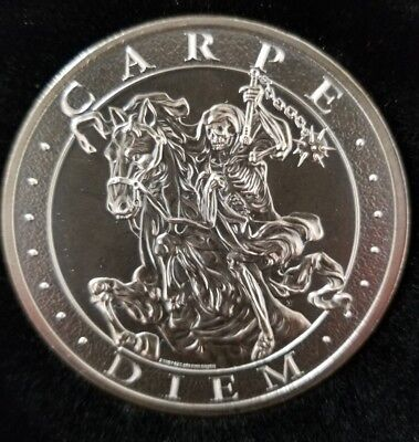 "NEW! Antiqued Memento Mori "" Carpe Diem ""  2 oz .999 Silver skull death rider"