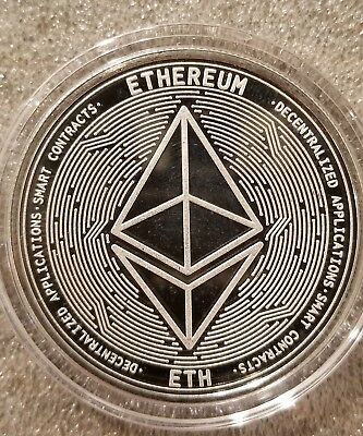 Ethereum ETH 1 oz .999 silver commemorative coin crypto currency bitcoin, btc