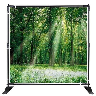 8' Telescopic Step and Repeat Banner Backdrop Stand Adjustable isplay Wall