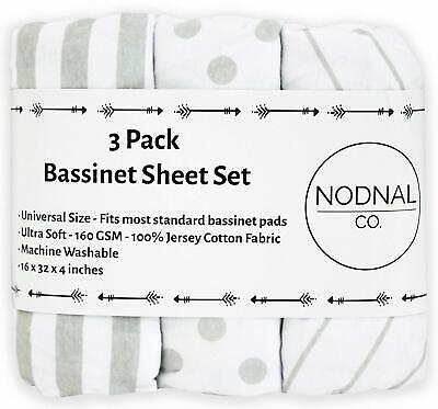 3 Pack Bassinet Fitted Sheet Set 100% Jersey Gray Cotton Baby Girl/Boy NODNAL Co