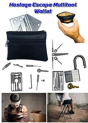 Set Of 2 ESCAPE Combo Cards Credit Cards Size MultiTools +FREE Carry Wallet