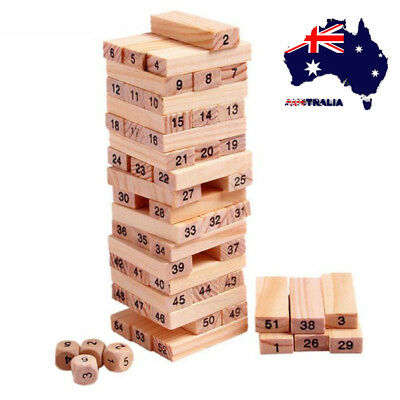 AU 54pcs Wooden Tumbling Tower Game Indoor Outdoor Garden Games Toys 17cm Gifts