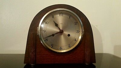 Very Rare Are Deco Enfield English 1930's  Oak  Dome Shape Mantel Clock