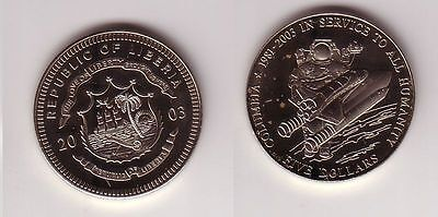 5 Dollar Nickel Münze Liberia 2003 Raumschiff Columbia (108817)