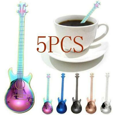 Stainless Steel Guitar Spoons Rainbow Coffee Tea Spoon Flatware Drinking Tool