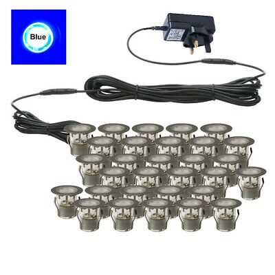SET OF 30 - 30mm IP67 ROUND BLUE LED DECKING / GROUND / PLINTH LIGHT KIT