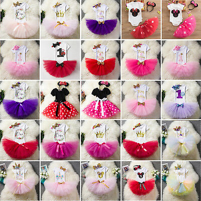 3pcs Baby Girl First 1st Birthday Party Outfit Dress Tutu Skirt Set Headband UK
