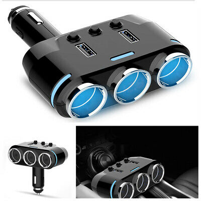 3-Way Multi Car Cigarette Lighter Socket Extension Splitter USB Charger MA1756