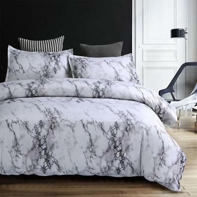 Simple Marble Quilt Cover Pillow Cover Bedding Printed Three-piece Set Polyester