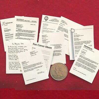 """1:6 scale Handmade miniature for 11""""-12"""" dolls - Set of 10 Business documents"""