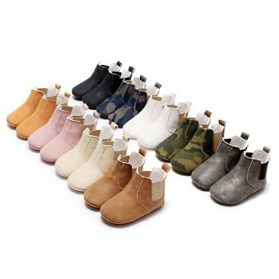 Baby Kids Soild PU Antislip Shoes Boys Girls Soft Crib Ankle Boots Warm 0-18M