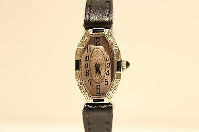 Art Deco Rare  Solid White Gold 14K Mechanical Ladies Watch With Sapphire Stones