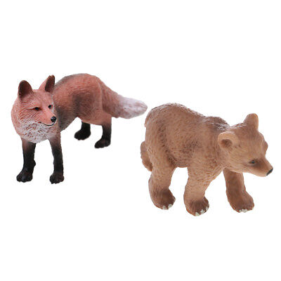 Realistic Red Fox + Little Brown Bear Wildlife Animal Model Figures Kids Toy