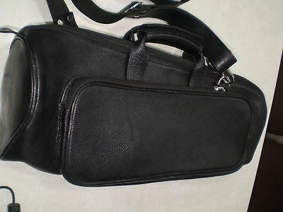 Finest Genuine Black Leather Trumpet Case Cover Bag Standard Size Free Shipping