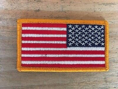 Reverse Usa American Flag Embroidered Patch Iron / Sew-On Gold Border
