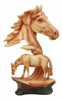 "Stallion Horse Bust Statue 12.5""H Horse Family Faux Wood Sculpture"