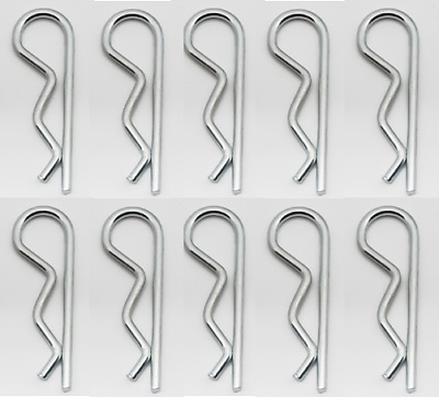 "10- R Pins 1/8"" Shaft Retaining Clip Zinc Plated Steel Hair Spring Cotter Pin"